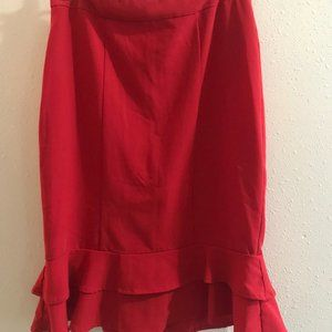 Red Fit and Flare Pencil Skirt Forever 21